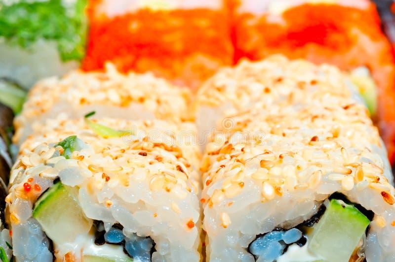 Macro sushi con differenti materiali da otturazione fotografia stock