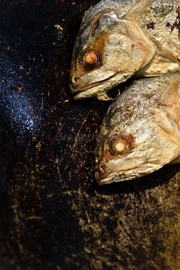 Macro tête des thons frits dans une casserole photos libres de droits