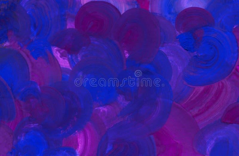 Macro texture de la surface peinte Marques de brosse sur la peinture courses radiales, tonalités bleues et pourpres saturées hand illustration stock