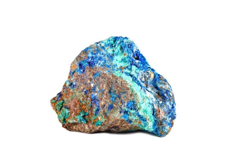 Macro tir de pierre gemme naturelle Azurite minérale crue, Maroc Objet d'isolement sur un fond blanc images libres de droits
