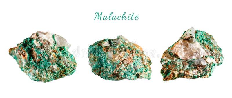 Macro tir de pierre gemme naturelle Malachite minérale crue morocco Objet d'isolement sur un fond blanc photographie stock
