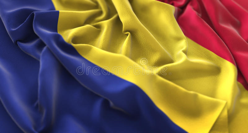 Macro tir en gros plan de Chad Flag Ruffled Beautifully Waving photos libres de droits