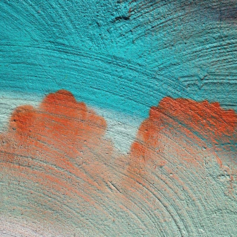 Macro of turquoise and orange painting royalty free stock photos