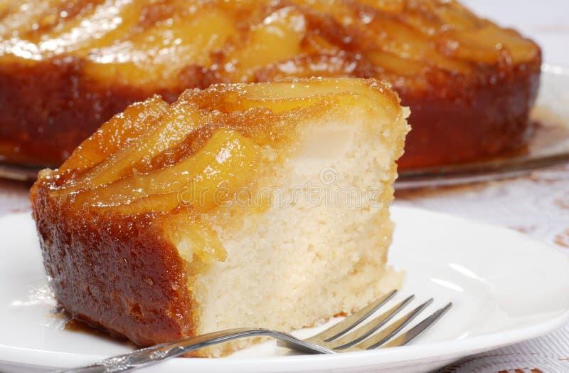 Macro upside down pear cake stock images