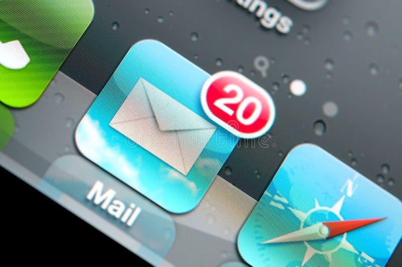 Macro van e-mailpictogram royalty-vrije stock foto