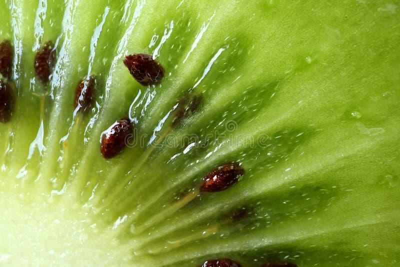 Macro van het Trillende Groene Verse en Sappige Rijpe Vlees en het Zaad van Kiwi Fruit ` s, voor Achtergrond wordt geschoten die royalty-vrije stock afbeeldingen