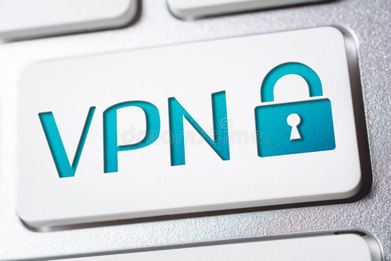 Macro van het Woord VPN met een Pictogram van de Slotveiligheid op een Toetsenbordknoop stock fotografie