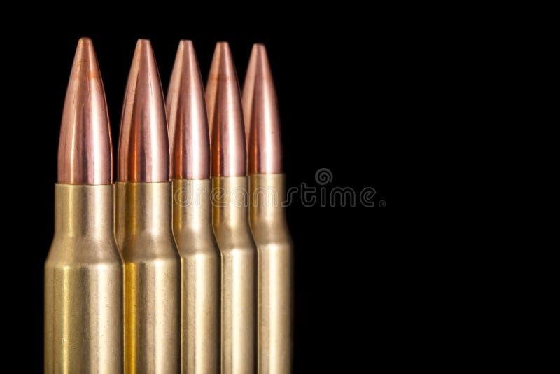 Macro van munitie met ruimte voor exemplaar wordt geschoten dat stock foto