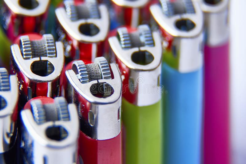 Macro van rekupereerbare aanstekers stock fotografie