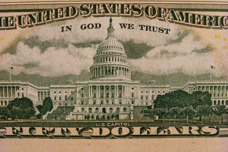Macro van vijftig Amerikaanse dollarsrekening die wordt geschoten stock foto's