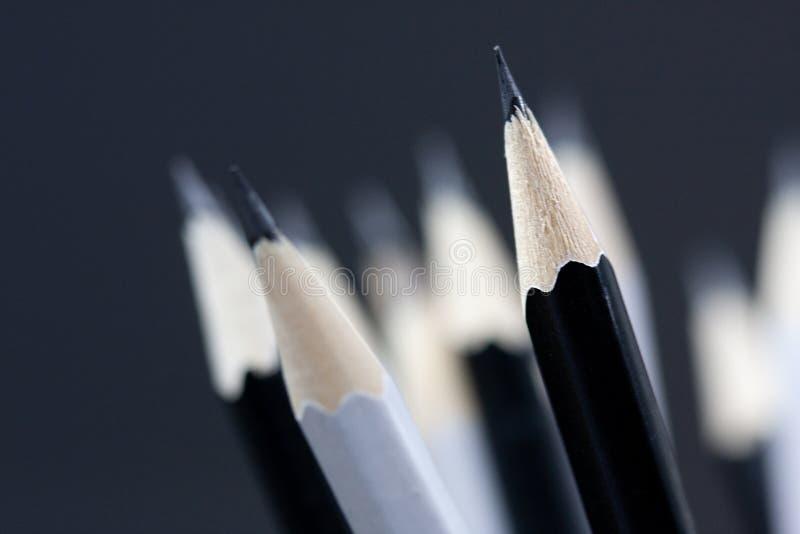 Macro van zwart-witte houten potlooduiteinden dat wordt geschoten stock afbeelding