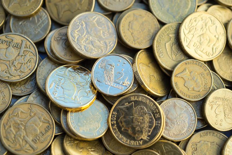 Australian Dollar Coins Macro. A macro view of Australian one dollar and two dollar coins royalty free stock image