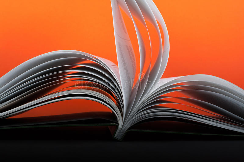 Macro view of book pages. Concept passion and fire, sail. royalty free stock image
