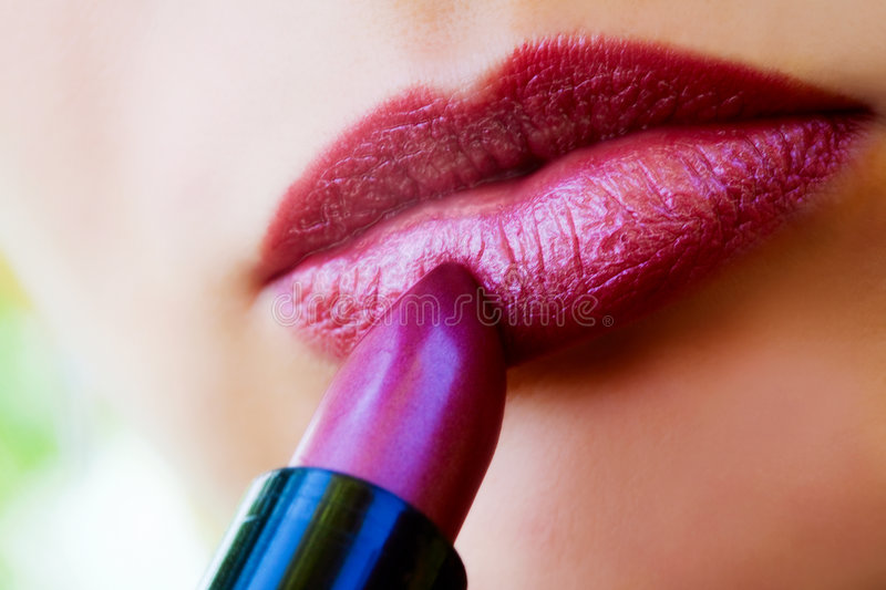 Macro View Of Female Lips And Red Lipstick Stock Image