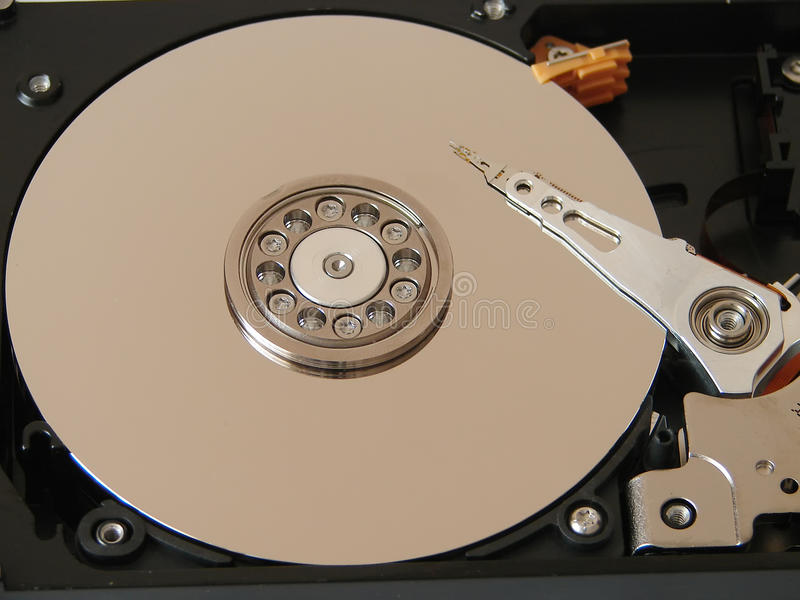 Macro View Of Hard Drive Inside Stock Image