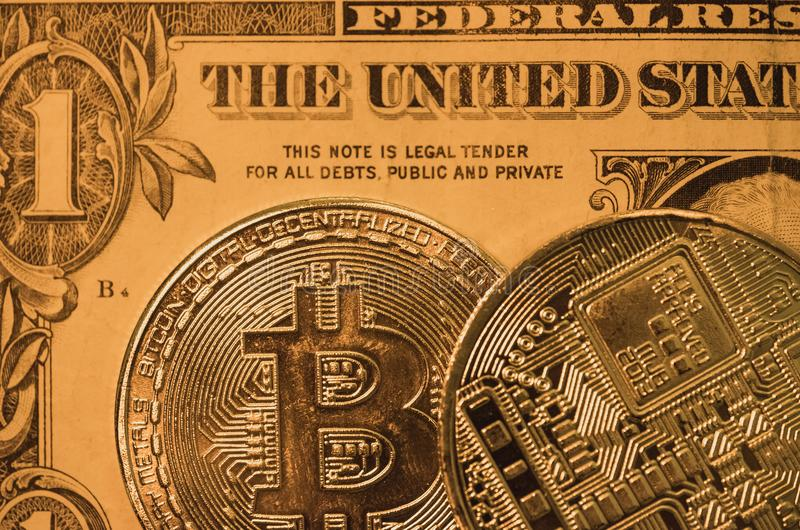 Macro view of a pair of Bitcoin coins showing the surface detail of the coinage royalty free stock photography