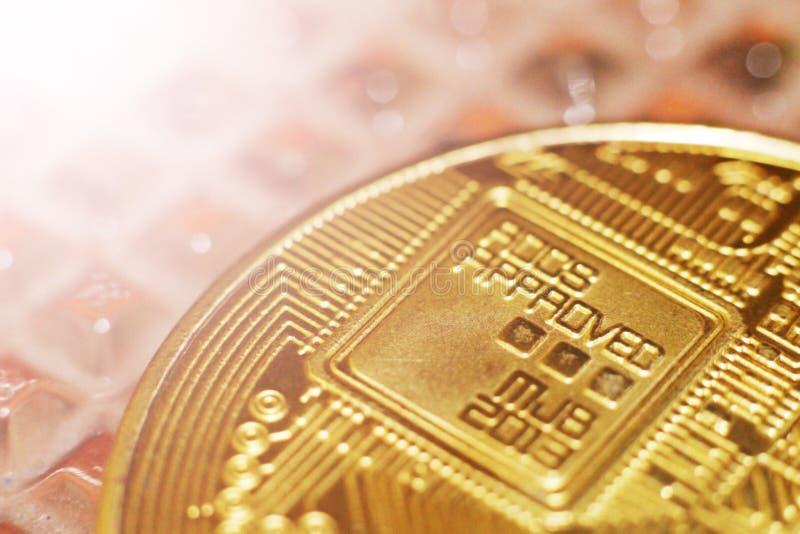 Macro view of shiny coins. With Bitcoin symbol royalty free stock photo