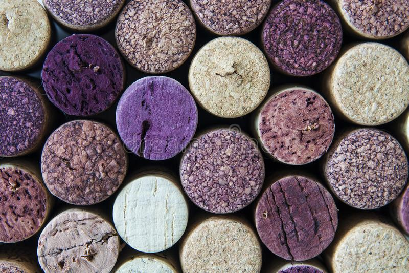 Macro view of used wine bottle corks stock images