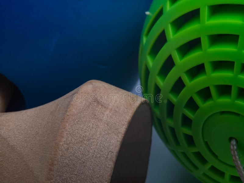Macro of vintage original Kendamas. Traditional, wooden Japanese skill toy for children royalty free stock images
