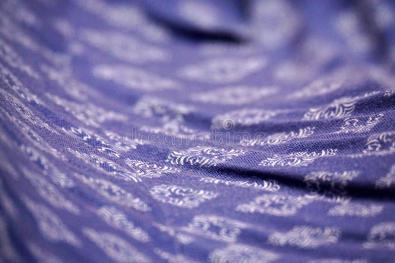 Macro vue modelée florale de tissu de fond bleu de texture photo stock