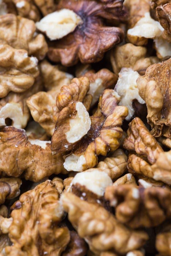 Macro walnut background stock photo
