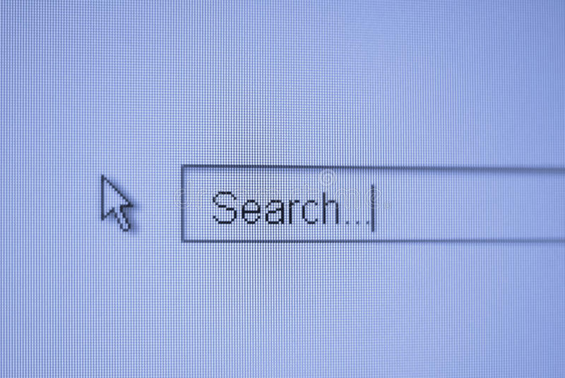 Macro web searching photo with cursor royalty free stock photos
