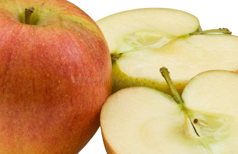 Download Macro Of Whole Apple With 2 Halves Stock Photo - Image of healthy, vitamins: 7290942