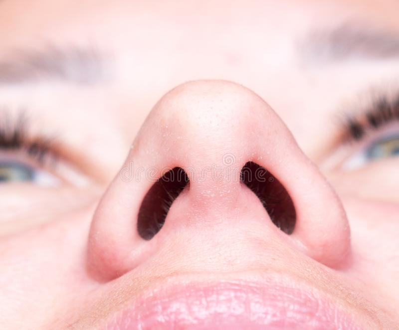 Macro of woman nose stock images