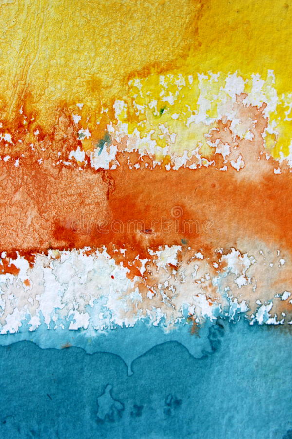Macro Yellow Orange Blue and White Watercolour Background 2 stock photography