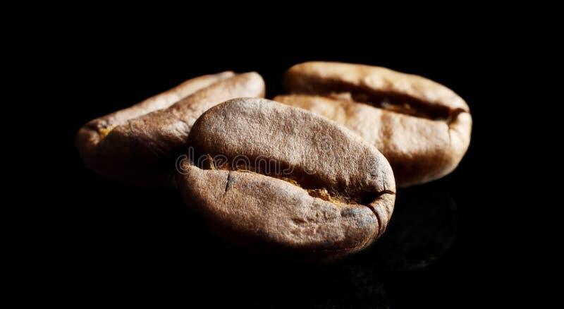 Macrodieclose-upschot van koffiebonen op zwarte worden geïsoleerd royalty-vrije stock foto's