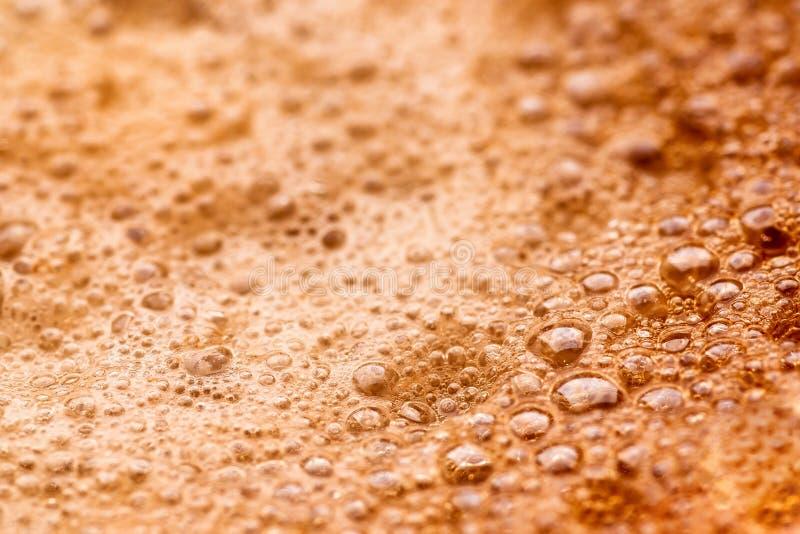 Macrofoto van de espressoschuim van de close-upkoffie stock foto's
