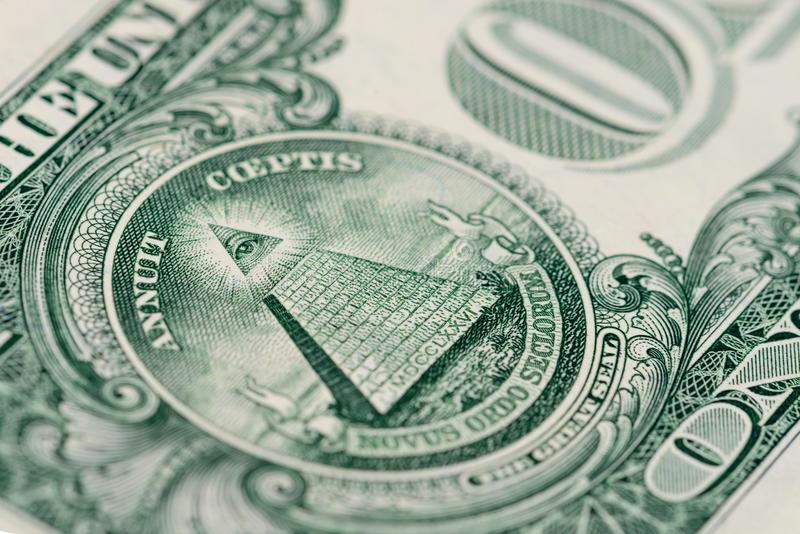 Macrofragmentbankbiljet één Amerikaanse dollar stock fotografie
