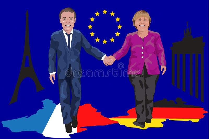 Macron/Merkel e a reforma do eurozone foto de stock royalty free