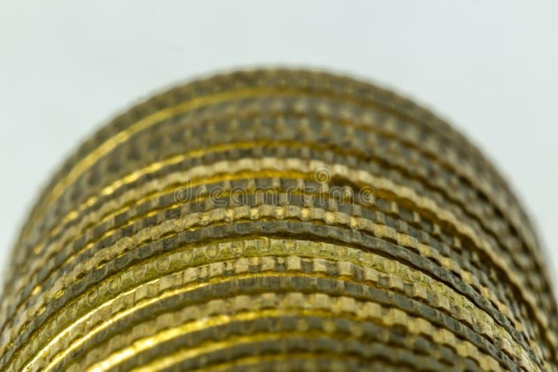 Macrophoto av en bunt av mynt royaltyfri foto