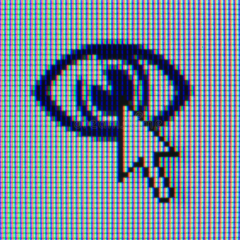Macrophoto of an icon and the cursor. Macrophoto of a matrix of the monitor with an icon and the cursor royalty free stock photos