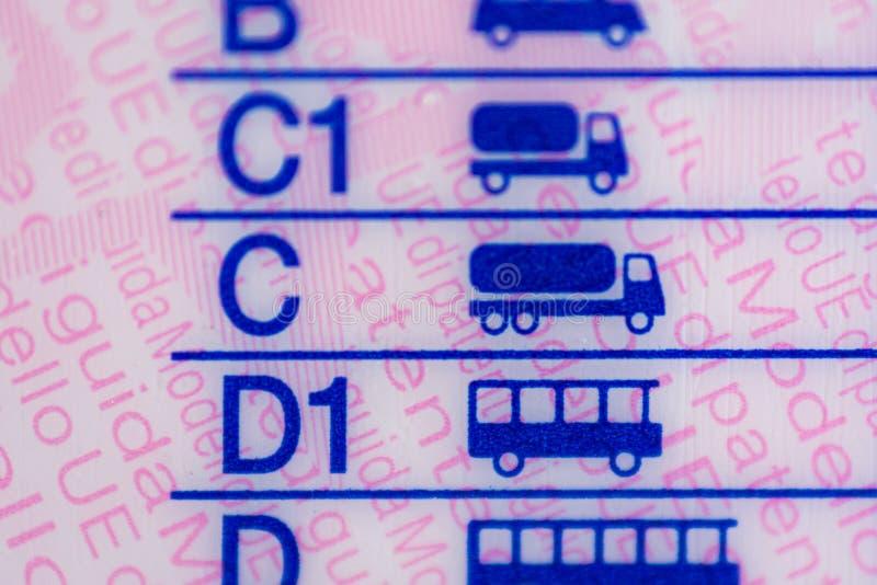 Macrophotography sur des catégories européennes de permis de conduire image stock