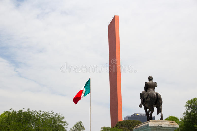 Macroplaza看法在蒙特雷墨西哥2017年 免版税库存图片