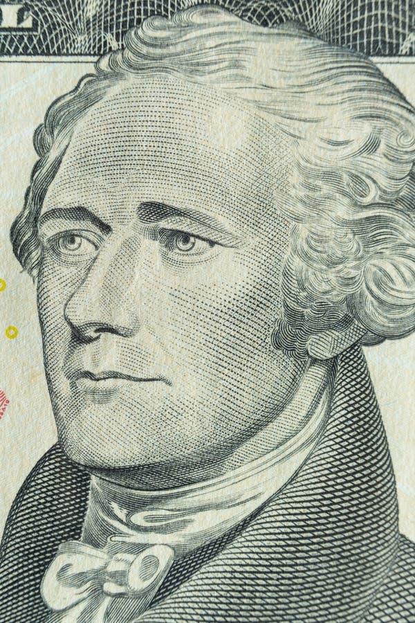 macroportret van Alexander Hamilton: Amerikaanse staatsman en ??n van de Grondleggers van de Verenigde Staten op dollar $10 bankn stock foto's