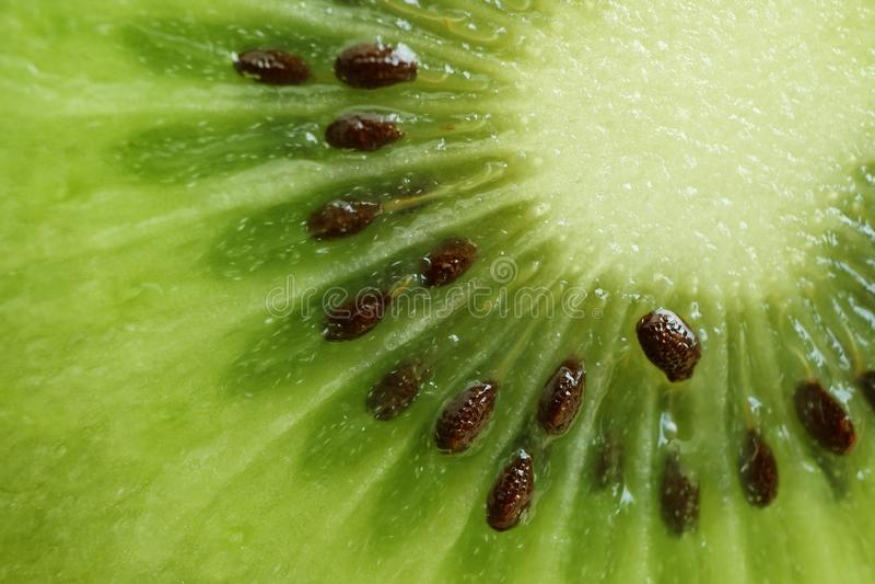 Macroschot van Trillende Groene Vers en Sappig van Besnoeiing Rijp Kiwi Fruit royalty-vrije stock afbeelding