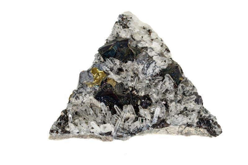 Macrosteen minerale Pyrrhotite, kwarts, Sfaleriet, kalkspaat, Loodglans op witte achtergrond royalty-vrije stock fotografie