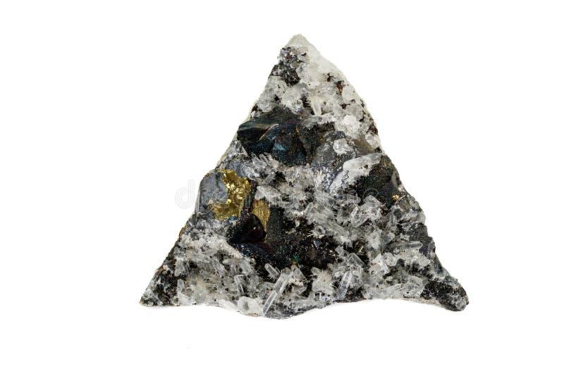 Macrosteen minerale Pyrrhotite, kwarts, Sfaleriet, kalkspaat, Loodglans op witte achtergrond royalty-vrije stock afbeeldingen