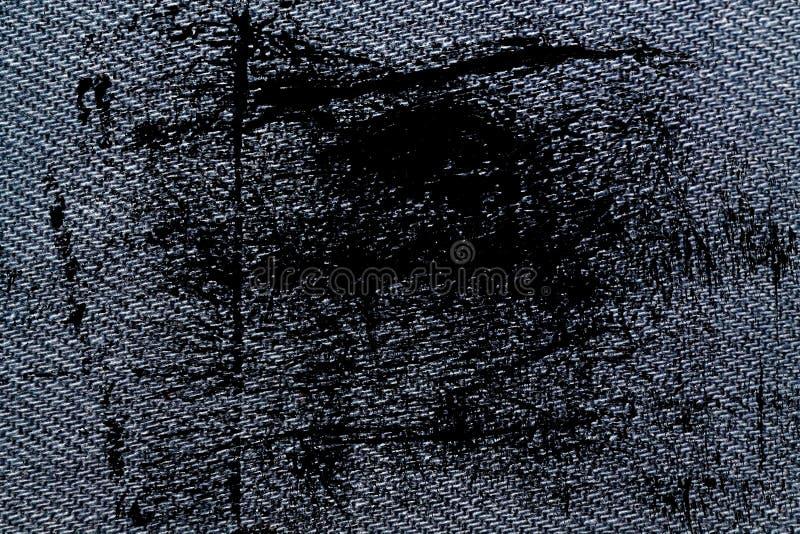 Macrotextuur van het Grunge de vuile Blauwe denim met naad voor jeansachtergrond stock afbeelding
