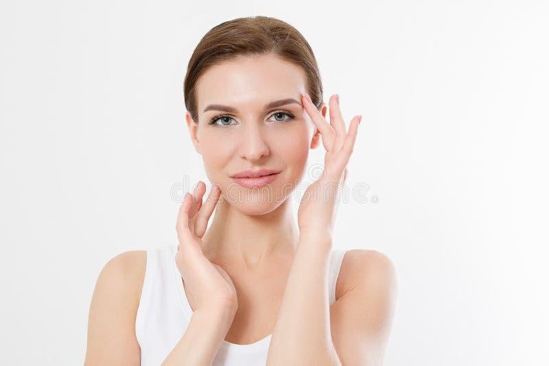 Macrovrouwengezicht zonder rimpels op voorhoofd Huidzorg en de schoonheid van het kuuroordgezicht De kosmetiek gezichtsbehandelin royalty-vrije stock fotografie