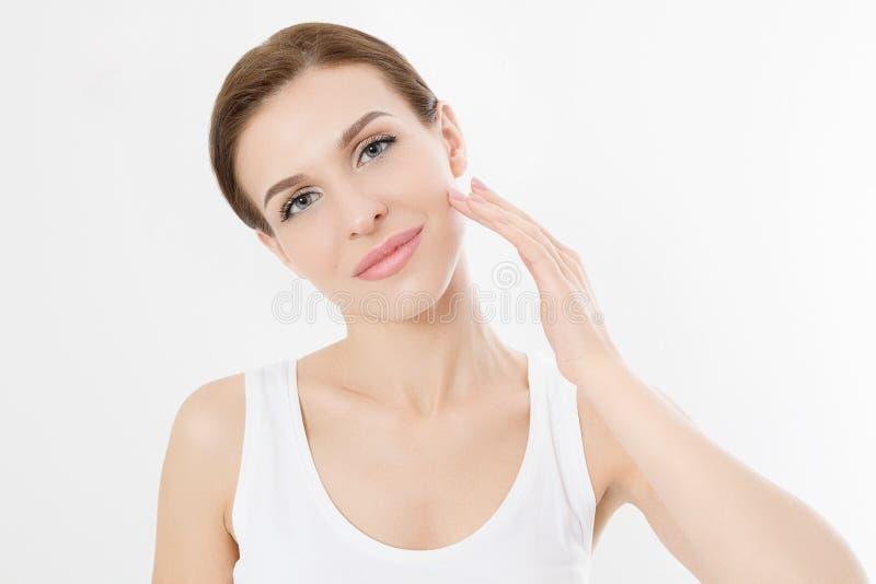 Macrovrouwengezicht zonder rimpels op voorhoofd Huidzorg en de schoonheid van het kuuroordgezicht De kosmetiek gezichtsbehandelin stock fotografie