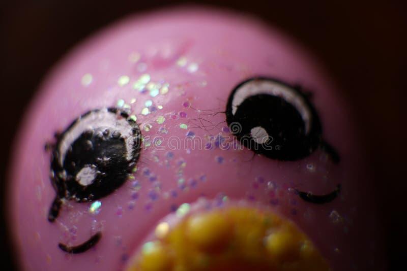 Macroweergeven van Sparkly Glittery Roze Shopkins royalty-vrije stock foto's