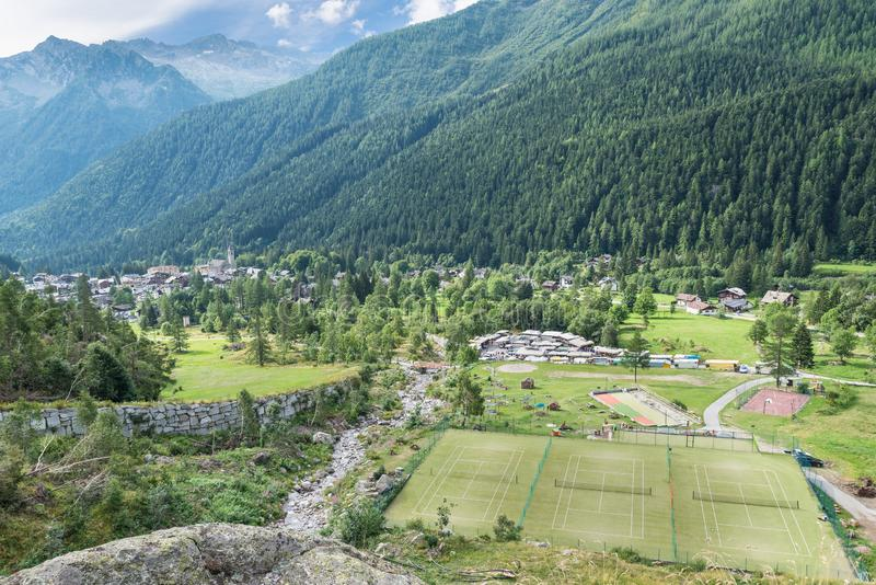 Macugnaga, Italy. Alpine village with some recreational facilities. Mountain village in the Alps at the foot of Monte Rosa with some recreational facilities in royalty free stock photos