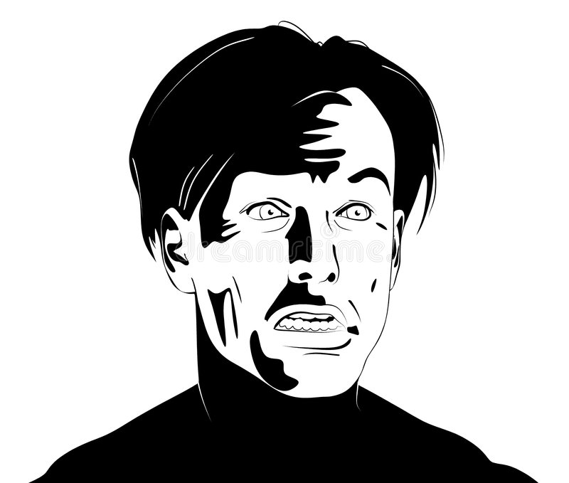 'Macy' Male Clipart Face. Black and white clipart illustration of a man's face bearing an awkward expression stock illustration