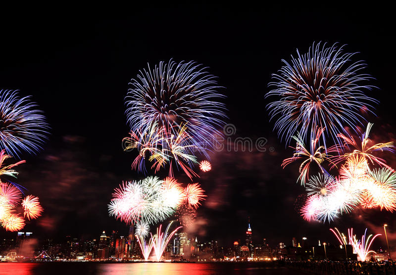 Macy's 4th of July fireworks in NYC stock photography