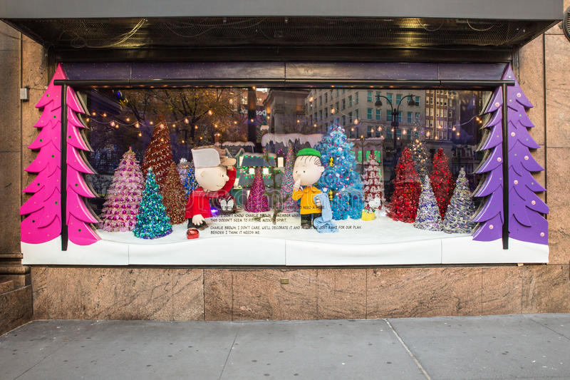 Macy's Christmas Windows. New York City, New York, USA - December 4, 2015: Pictured here is a view of the holiday windows display at Macy's Herald Square in stock photo