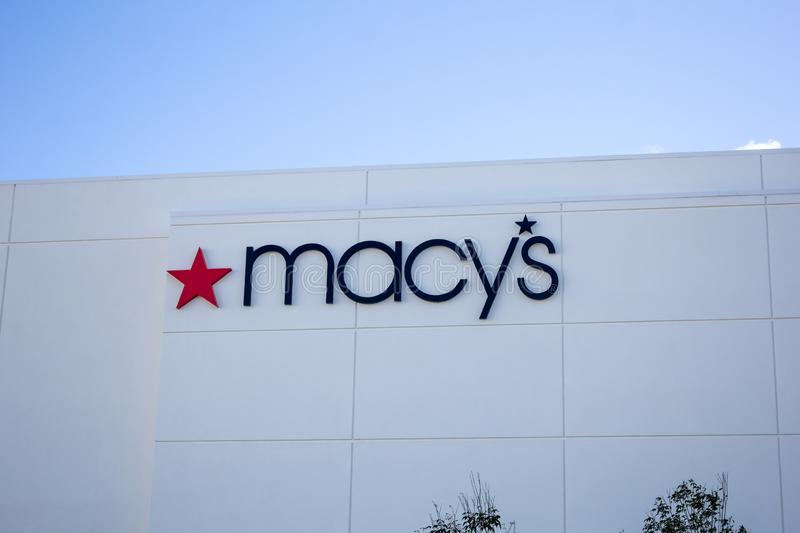 Macy`s department store sign. A store front sign for the department store chain known as Macy`s royalty free stock image